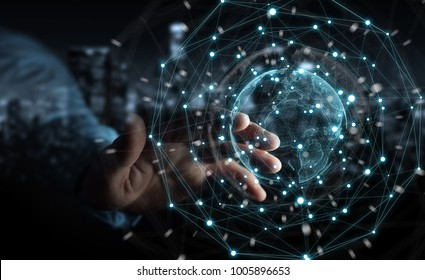 Businessman on blurred background using planet earth network sphere interface 3D rendering