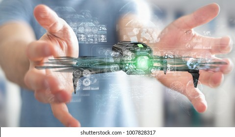 Businessman on blurred background using modern drone 3D rendering