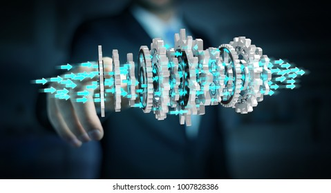 Businessman on blurred background using floating gear icons 3D rendering