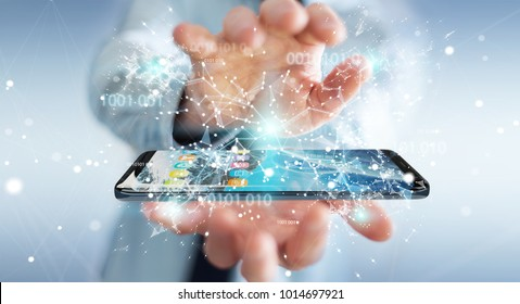 Businessman on blurred background using digital binary code on mobile phone 3D rendering