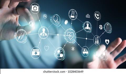 Businessman on blurred background using digital medical interface 3D rendering