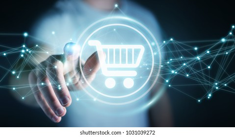 Businessman on blurred background using digital shopping icons with connections 3D rendering