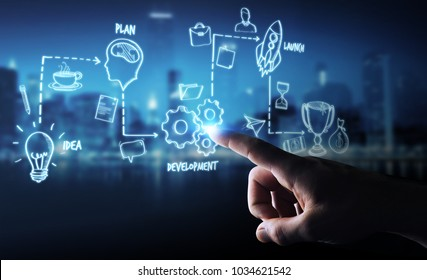 Businessman on blurred background using manuscript project presentation with his hand