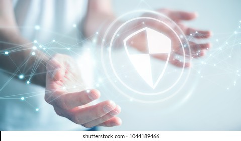 Businessman on blurred background using shield safe protection with connections 3D rendering
