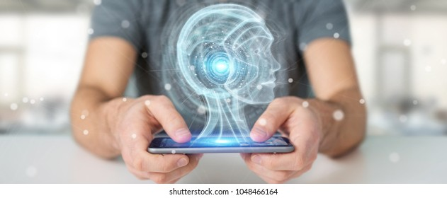 Businessman on blurred background using digital artificial intelligence interface 3D rendering