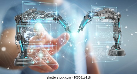 Businessman on blurred background using robotics arms with digital screen 3D rendering