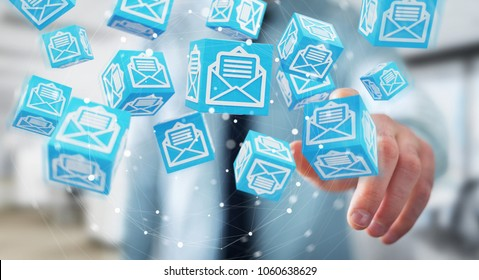 Businessman on blurred background using floating cube emails 3D rendering