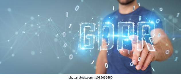 Businessman on blurred background using digital GDPR interface 3D rendering