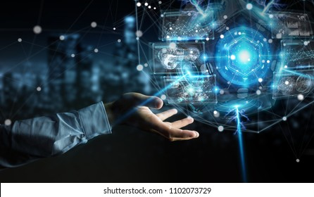 Businessman on blurred background using futuristic drone security camera 3D rendering