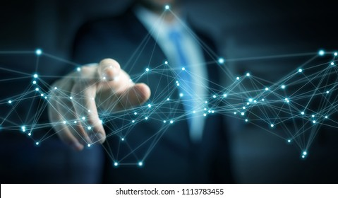 Businessman on blurred background using flying network connection 3D rendering