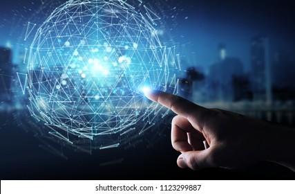 Businessman on blurred background using digital triangle exploding sphere hologram 3D rendering