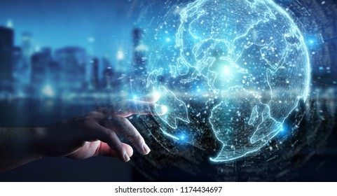 Businessman on blurred background using globe network hologram with America Usa map 3D rendering