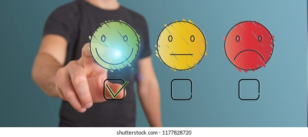 Businessman on blurred background using thin line customer satisfaction rating