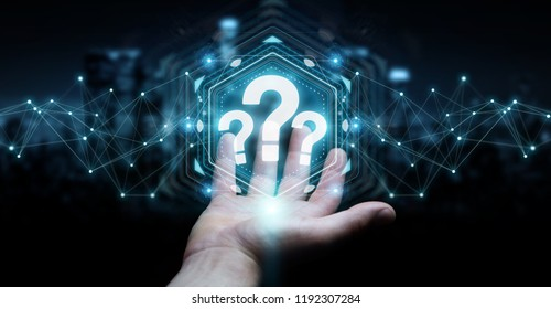 Businessman on blurred background using question marks digital interface 3D rendering