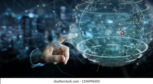 Businessman on blurred background using globe network with digital connection 3D rendering