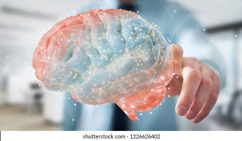 Businessman on blurred background using using digital 3D projection of a human brain 3D rendering