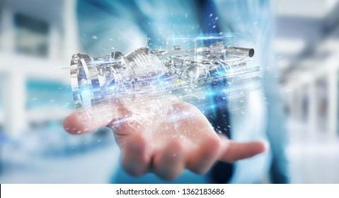 Businessman on blurred background using wireframe holographic 3D digital projection of an engine