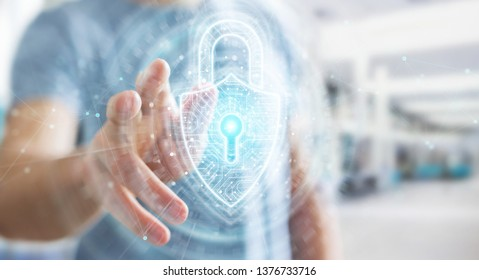Businessman on blurred background using digital padlock security interface to protect datas 3D rendering