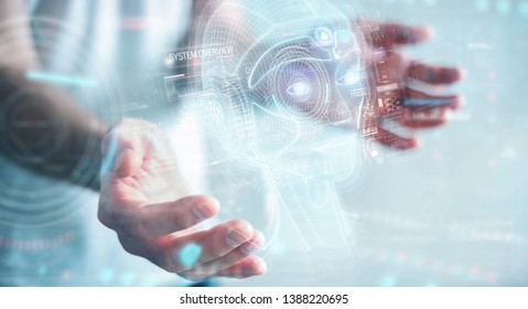 Businessman on blurred background using digital artificial intelligence head interface 3D rendering