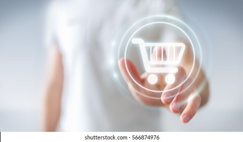 Businessman on blurred background using digital payment interface