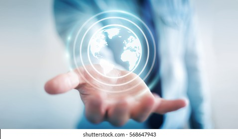 Businessman on blurred background using web interface to surf on internet 3D rendering