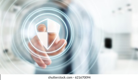 Businessman on blurred background using shield safe protection to protect his datas 3D rendering