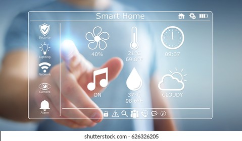 Businessman on blurred background using smart home digital interface 3D rendering