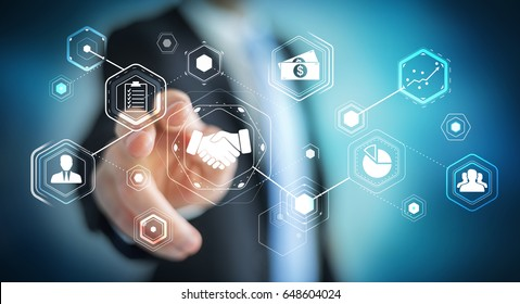 Businessman on blurred background using digital presentation for partnership business 3D rendering