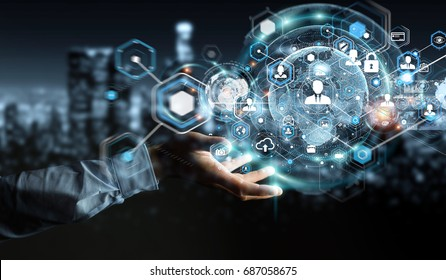 Businessman on blurred background using social network interface 3D rendering