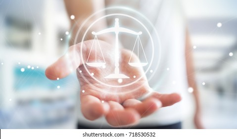 Businessman on blurred background using law protection right 3D rendering