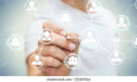 Businessman on blurred background using social network connection with a pen 3D rendering