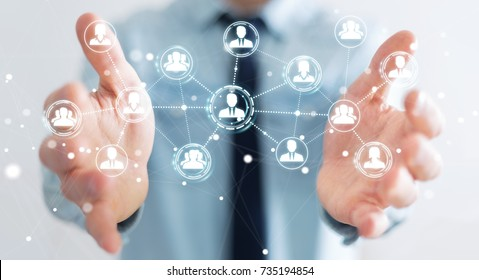 Businessman on blurred background using social network connection 3D rendering
