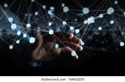 Businessman on blurred background using flying network balls connection 3D rendering