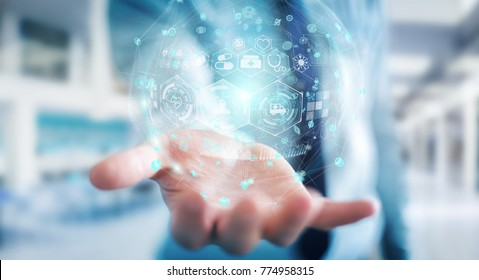 Businessman on blurred background using digital medical sphere