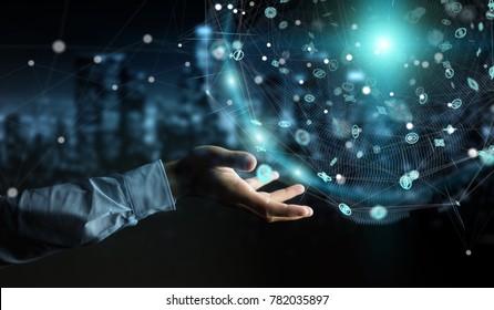 Businessman on blurred background using holograms datas digital sphere 3D rendering