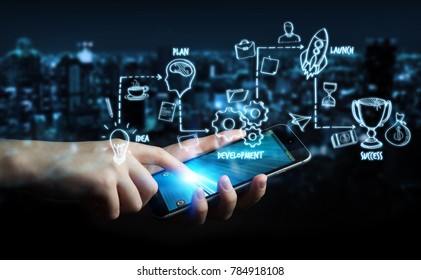 Businessman on blurred background using manuscript project presentation with his phone