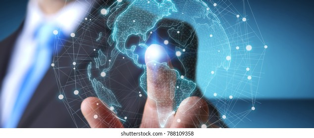 Businessman on blurred background using USA world map interface 3D rendering