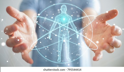 Businessman on blurred background using digital x-ray human body scan interface 3D rendering