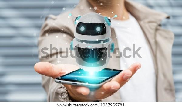 Geschäftsmann auf unscharfem Hintergrund mit 3D-Rendering für einen digitalen Chatbot-Roboter