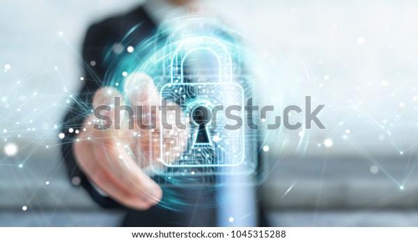 Geschäftsmann auf unscharfem Hintergrund mit digitalem Padlock mit 3D-Rendering zum Datenschutz