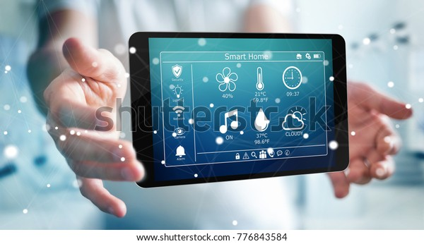 Businessman on blurred background using smart home remote device 3D rendering