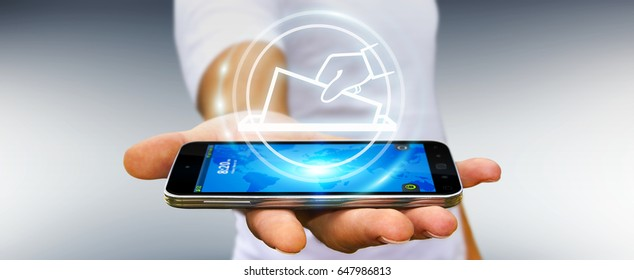 Businessman on blurred background voting using digital interface 3D rendering