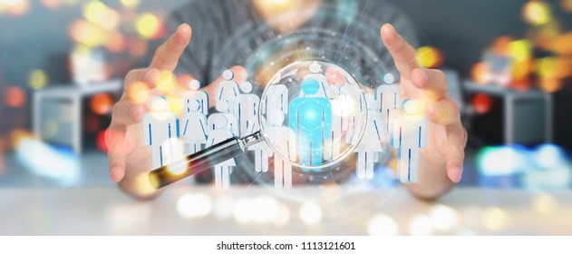Businessman on blurred using magnifying glass to recruit people 3D rendering