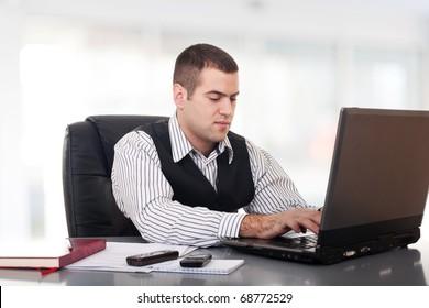 Businessman on bright background