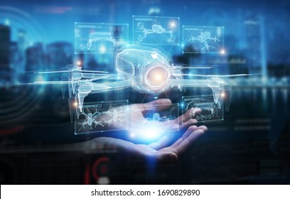 Businessman on dark background holding and touching holographic drone projection in his fingers 3D rendering