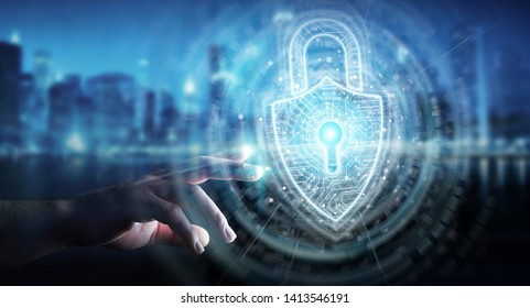 Businessman on dark background using digital padlock security interface to protect datas 3D rendering