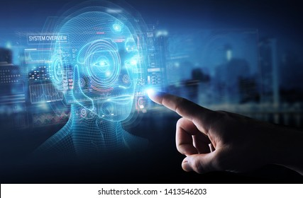 Businessman on dark background using digital artificial intelligence head interface 3D rendering