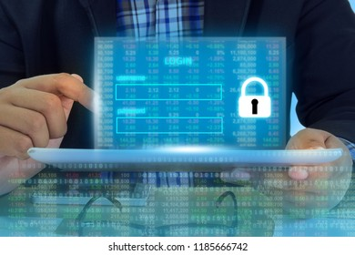 Businessman on digital security login financial positive indicator background. Double exposure growth graph futuristic economic currency chart investor data analysis technology money exchange concept.