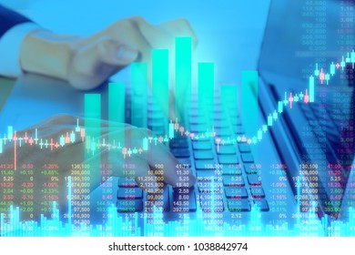 Businessman on digital stock market financial positive indicator background. Double exposure of growth digital futuristic chart computer stock market financial. investor wall street digital technology