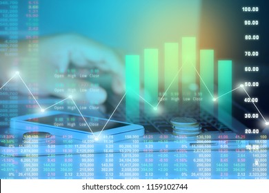 Businessman on digital stock market financial positive indicator background. Double exposure of growth graph futuristic economic currency chart investor data analysis technology money exchange concept